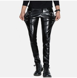 Men Fashion Slim Fit Pu Leather Pant Punk Rock Style Skull Casual