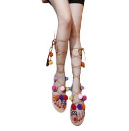 Boho Women's Pompom High Lace Strap Flat Sandals