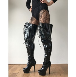 15cm Platform Nigel Mid Thigh Laceup Goth Punk Cosplay Fetish Boot Patent