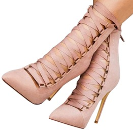 High Fashion Women's Pointed Lace Up High Heels Shoes