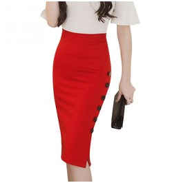 Retro Slit Button Pencil Women Skirt