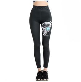 Punk Skull Black Slim Elastic Women Leggings
