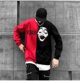 Red And Black Streetwear Men Sweatshirt