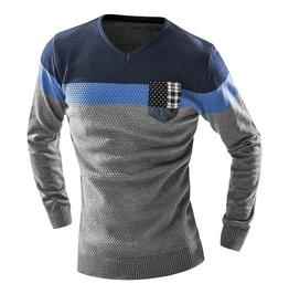 Urban Fashion Pocket V Neck Men Sweater