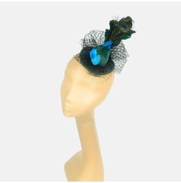 Fascinator Headpiece With Feathered Peacock Emerald & Turquoise With Veil