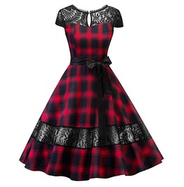 Rebelsmarket hollow backless patchwork lace bowknot gothic vintage plaid dress dresses 9