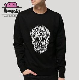 Skull Typo Sweatshirt Black Cool