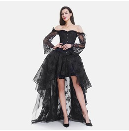 Gothic Black Off Shoulder Short Front Long Back Lace Corset Party Dress