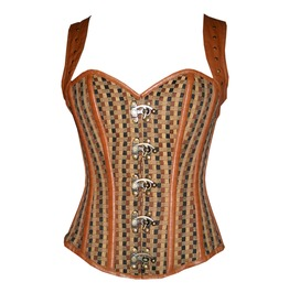 Jute Leather Shoulder Strap Steampunk Costume Overbust Plus Size Corset Top