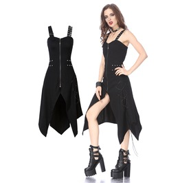 Dw143 Punk Halter Elastic Dress With Side Rope Ornament By Dark In Love