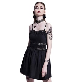 Black Hollow Out Patchwork Camis Gothic Sleeveless Mini Dress