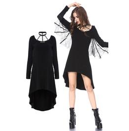 Dw153 Punk Spider Sleeves Dress With Spider Web Design Neck