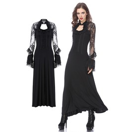 Dw157 Gothic Long Lace Knitted Dress