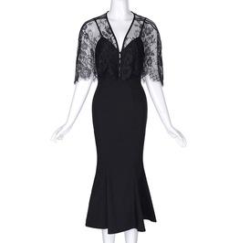 Black Lace Vintage Goth Twinset Bodycon Mermaid Cami Dress