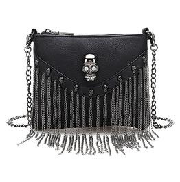 Black Skull Skeleton Metal Chain Tassel Pu Faux Leather Punk Shoulder Bag