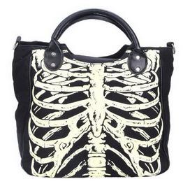 Skeleton Ribs Bones Punk Gothic Shoulder Tote Satchel Bag