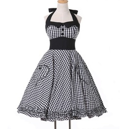 Black Plaid Retro Swing 60's 50's Rockabilly Dress
