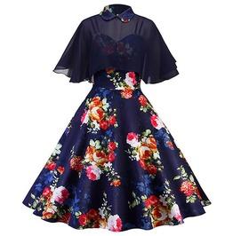 Floral Print Backless Patchwork Turn Down Collar Cloak Sleeve Vintage Dress