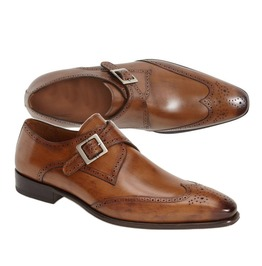 Men Tan Brown Wing Tip Brogue Formal Monk Shoes, Men Leather Dress Shoes