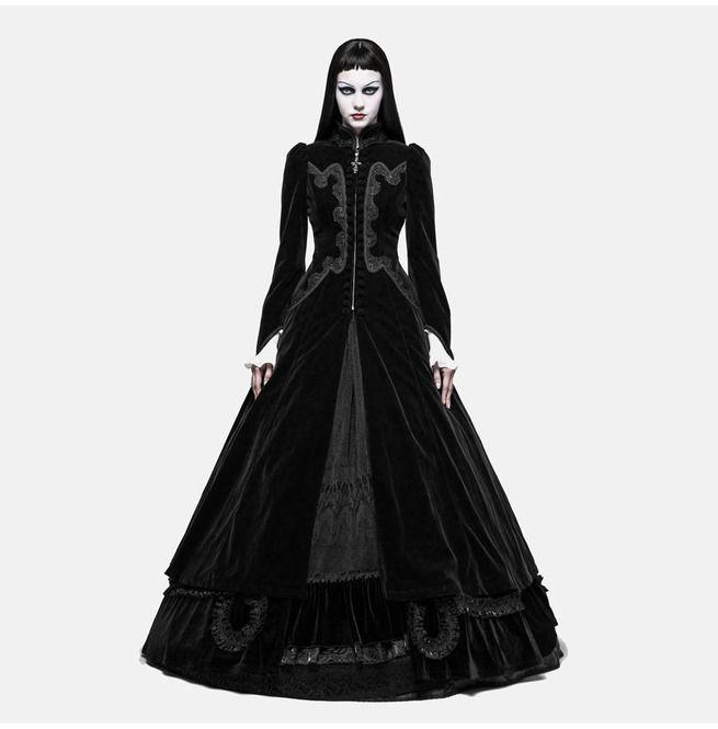 Gothic Black Velvet Thin Strap Evening Dress For Women Rebelsmarket