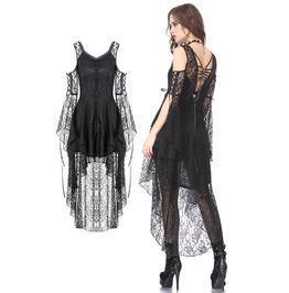 Dw166 Black Gothic Elegant Lace High Low Dress By Dark In Love