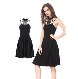 Dw168 Black Midi Dress With Star Back By Dark In Love