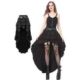 Kw122 Punk Rivet High Low Skirt By Dark In Love