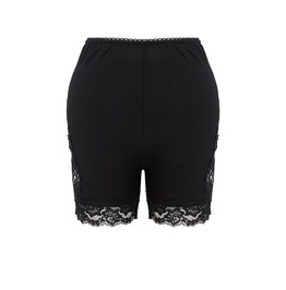 Pw086 Black Knitted Short Legging With Side Flower