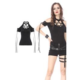 Rebelsmarket tw154 black gothic punk star t shirt off the shoulder by dark in love t shirts 16