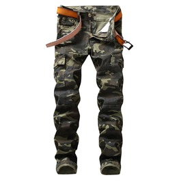 Camouflage Military Army Cargo Pants Slim Straight Patchwork Denim Jeans