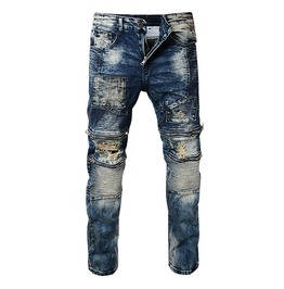 Distressed Medium Washed Vintage Pleated Holes Ripper Biker Jeans