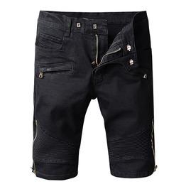 Pleated Zipper Knee Length Black Denim Summer Biker Shorts