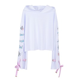 Harajuku Lace Up Long Sleeve Hoodie With Prints Women's Top
