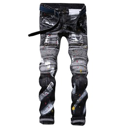 Pleated Patchwork Splattered Paint Design Distressed Denim Biker Jeans