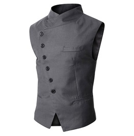 Black Gray Stand Collar Asymmetric Buttons Goth Steampunk Vest Waistcoat