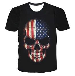 3 D Print Skull Skeleton Usa Flag Stars Stripes T Shirt Tops Tees