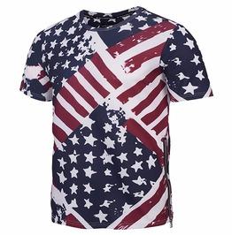 Zipper Side 3 D Print Usa Flag Stars Stripes Paint T Shirt Tops Tees