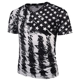 3 D Print Black White Usa Flag Stars Stripes Doodle T Shirt Tops Tees