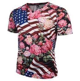 3 D Print Flowers Roses Usa Flag Stars Stripes T Shirt Tops Tees