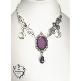 Silver Bat And Moon Pendant With Amethyst Gem Cameo Gothic Necklace