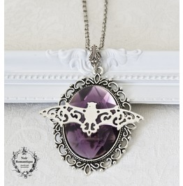 Bat Cameo Necklace Gothic Necklace Necklace With Gem