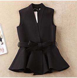 Spring Black Peplum Woman Vest