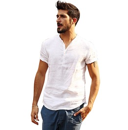 Urban Men's Pure Linen Short Sleeve Top