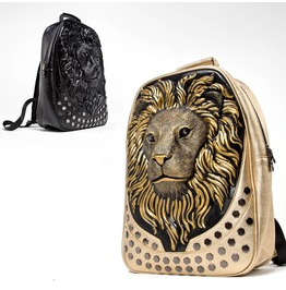 3 D Lion Head Leather Backpack 71