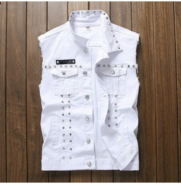 Punk Rock Rivets Denim Men Vest