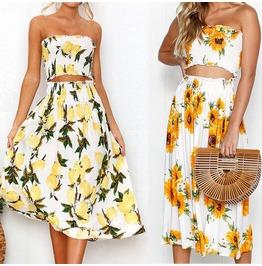 Summer Boho Floral Maxi Skirt+Tops Evening Party Beach Dress