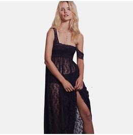 Bohemian lace slash side slip dress with camisole dresses