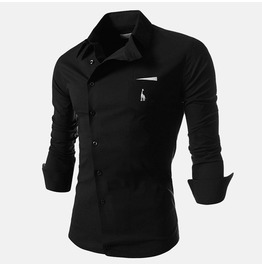 Men Shirt Black / White / Blue Color Long Sleeve Shirt Men's Casual