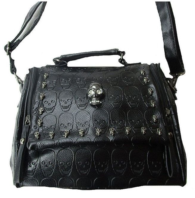 455525a8e882d Rockabilly Punk Rock Baby Black Fashion Skull Bag