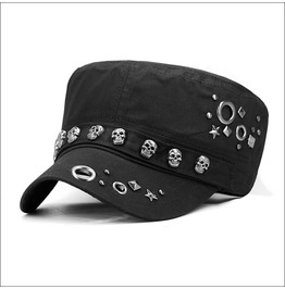 Punk Rivets Skull Unisex Military Cap Accessories